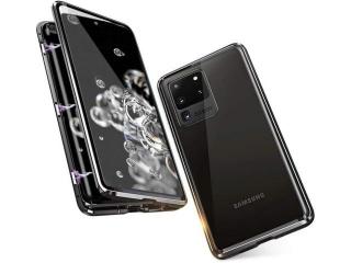 Samsung S20 Ultra Magnetische Aluhülle Panzerglas Vorne Hinten schwarz