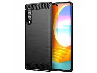 LG Velvet Carbon Gummi Hülle TPU Case Cover flexibel schwarz