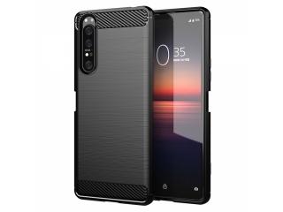 Sony Xperia 1 II Carbon Gummi Hülle TPU Case Cover flexibel schwarz