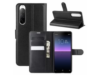Sony Xperia 10 II Leder Hülle Portemonnaie Karten Ledertasche schwarz