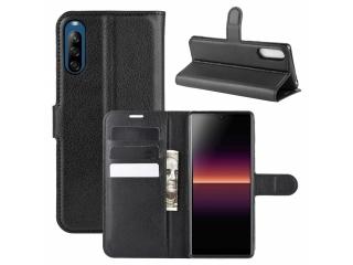 Sony Xperia L4 Leder Hülle Portemonnaie Karten Ledertasche schwarz