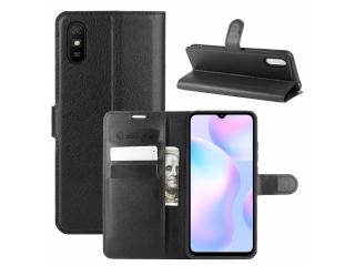 Xiaomi Redmi 9A Leder Hülle Portemonnaie Karten Ledertasche schwarz