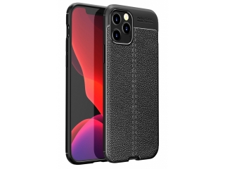 iPhone 12 Max Leder Design Gummi Hülle TPU Case Cover schwarz
