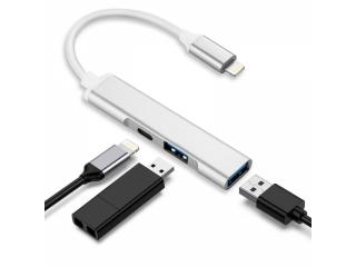 Lightning auf 3-in-1 USB Kamera Adapter mit Aufladen und 2x USB Ports