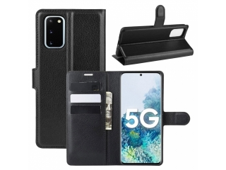 Samsung Galaxy S20 FE Leder Hülle Karten Ledertasche schwarz