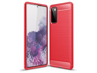 Samsung Galaxy S20 FE Carbon Gummi Hülle TPU Case flexibel rot