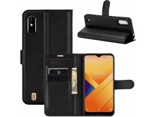 Wiko Y81 Leder Hülle Portemonnaie Karten Ledertasche schwarz