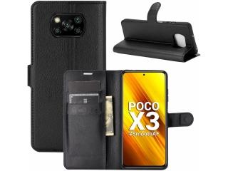 Xiaomi Poco X3 Leder Hülle Portemonnaie Karten Ledertasche schwarz