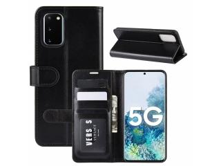 Samsung Galaxy S20 FE Leder Hülle Karten Ledertasche glanzschwarz