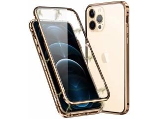 iPhone 12 Pro Magnetische Alu Hülle Panzerglas Vorne & Hinten gold