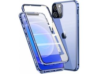 iPhone 12 Pro Max Magnetische Aluhülle Panzerglas Vorne Hinten blau