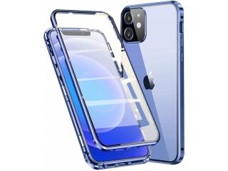 iPhone 12 Magnetische Alu Hülle Panzerglas Vorne & Hinten blau