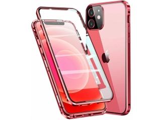 iPhone 12 Magnetische Alu Hülle Panzerglas Vorne & Hinten rot