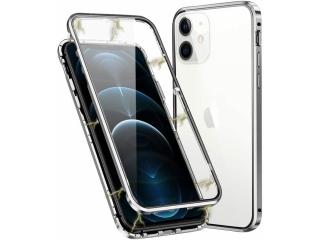 iPhone 12 mini Magnetische Alu Hülle Panzerglas Vorne & Hinten silber