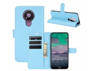 Nokia 3.4 Leder Hülle Portemonnaie Karten Ledertasche hellblau