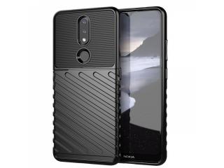 Nokia 2.4 Stripes Anti Shock Case Hülle flexible TPU Hülle schwarz