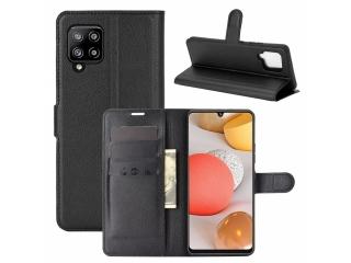 Samsung Galaxy A42 5G Leder Hülle Karten Ledertasche schwarz