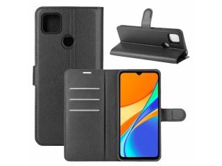 Xiaomi Redmi 9c Leder Hülle Portemonnaie Karten Ledertasche schwarz