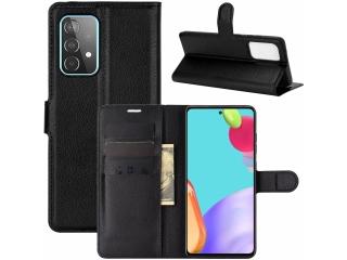 Samsung Galaxy A52 Lederhülle Portemonnaie Karten Ledertasche schwarz