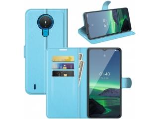 Nokia 1.4 Lederhülle Portemonnaie Karten Ledertasche hellblau
