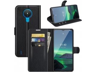 Nokia 1.4 Lederhülle Portemonnaie Karten Ledertasche schwarz