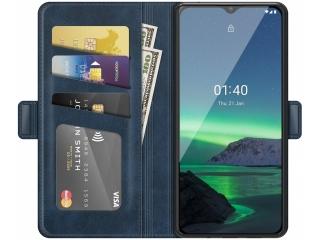 Nokia 1.4 Leder Hülle Karten Ledertasche dunkelblau