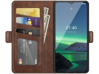 Nokia 1.4 Leder Hülle Karten Ledertasche mokka braun