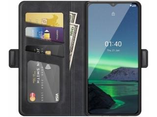 Nokia 1.4 Leder Hülle Karten Ledertasche schwarz