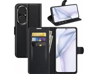 Huawei P50 Lederhülle Portemonnaie Karten Ledertasche schwarz