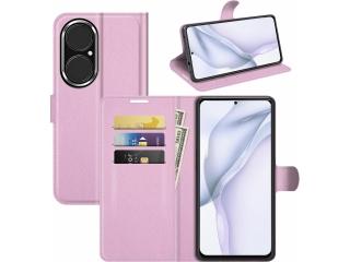 Huawei P50 Lederhülle Portemonnaie Karten Ledertasche rosa