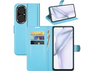 Huawei P50 Lederhülle Portemonnaie Karten Ledertasche hellblau