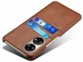 Huawei P50 Leder Case Hülle für Bank und Kreditkarten Etui braun