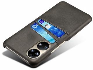 Huawei P50 Leder Case Hülle für Bank und Kreditkarten Etui schwarz