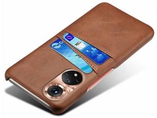 Honor 50 Leder Case Hülle für Bank und Kreditkarten Etui braun