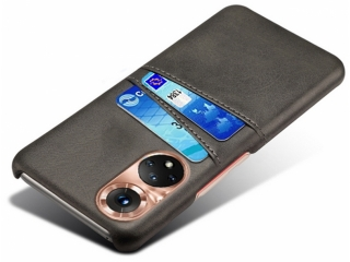 Honor 50 Leder Case Hülle für Bank und Kreditkarten Etui schwarz