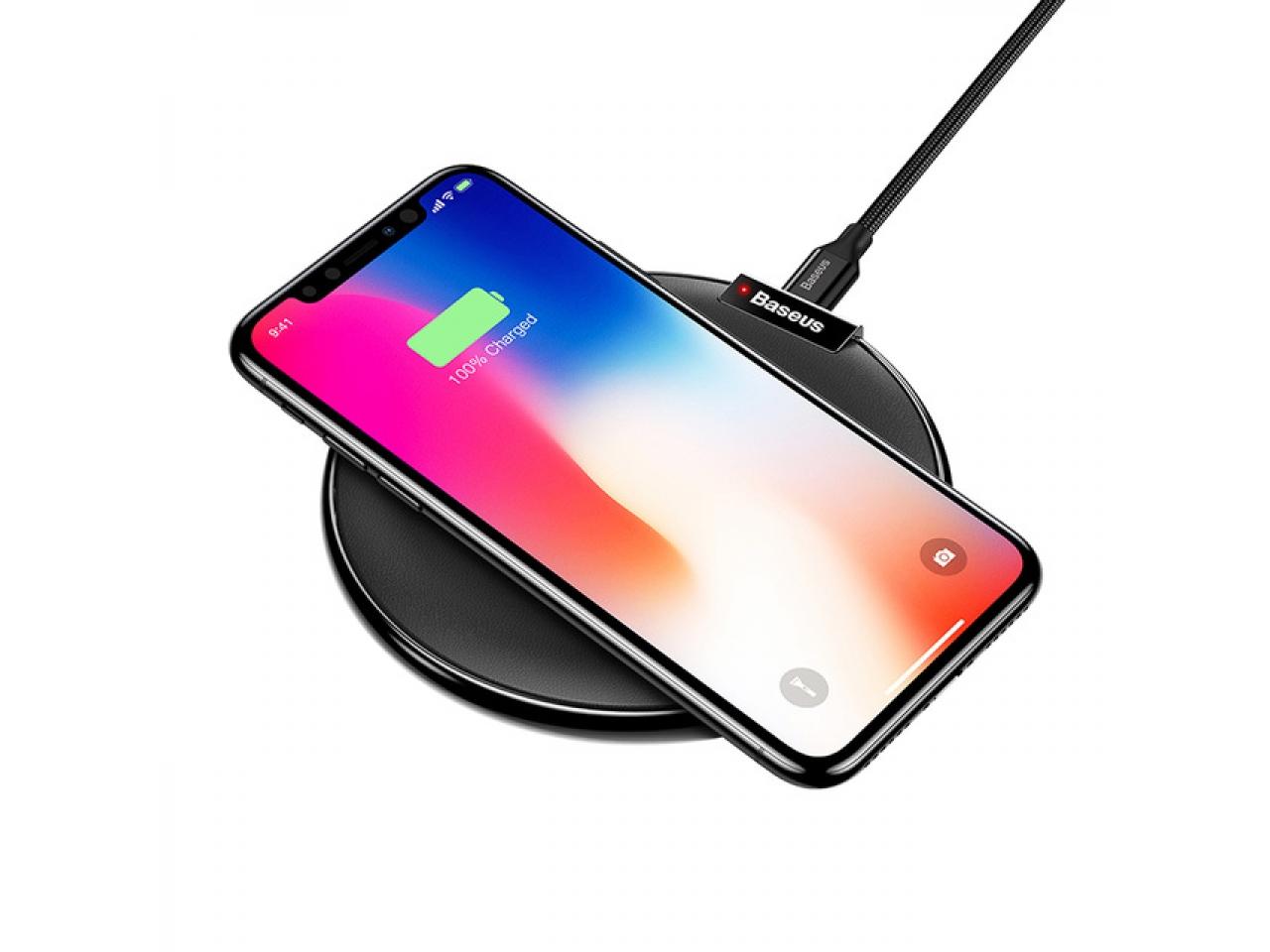 baseus qi iphone x xs wireless ladestation mit soft leder schwarz tisch ladestationen esons