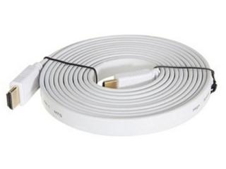 HDMI 1.4 Flachband Kabel 3 Meter - 3D / 2160p vergoldet - weiss