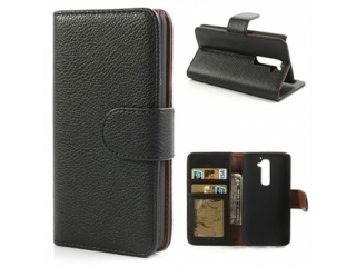 LG G2 Ledertasche Portemonnaie Kreditkarten Etui Schutzhülle schwarz