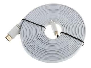 HDMI 1.4 Flachband Kabel 5 Meter - 3D / 2160p vergoldet - weiss