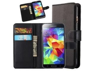 Samsung Galaxy S5 Ledertasche Portemonnaie Etui Schutzhülle - schwarz