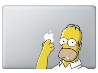 "MacBook 13"" Sticker Aufkleber - Homer Simpsons Eating Donut Cookie"