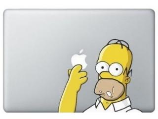 MacBook Sticker Aufkleber - Homer Simpsons Eating Donut Cookie - f�r alle Apple Macbook Pro, Retina, Air in 13 Zoll