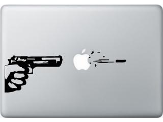 "MacBook 13"" Sticker Aufkleber - Gun Art Pistole Apple Logo"
