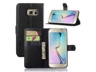 Samsung Galaxy S6 Edge Ledertasche - Portemonnaie Kreditkarten Etui Schutzh�lle aus Leder - schwarz
