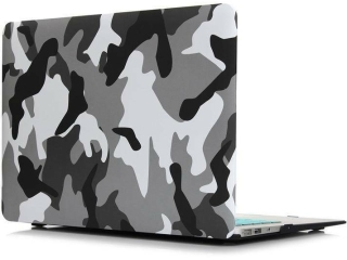 "MacBook Air 13"" Schutzh�lle - Army Camouflage Military Case grau schwarz - SmartShell-H�lle Snap-On Etui"