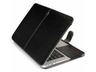 """MacBook 12"""" Lederhülle Aufklappbare Slim Tasche Cover in Schwarz"""