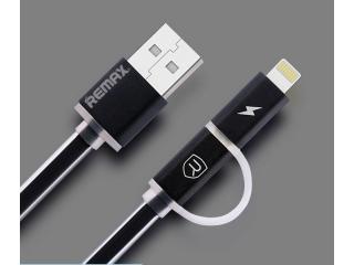 REMAX Aurora Dualport Lightning & MicroUSB Flachband Kabel - Schwarz