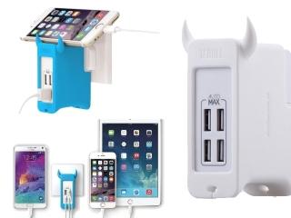Momax 4-Fach USB Ladegerät 25 Watt & Standfunktion High Quality weiss