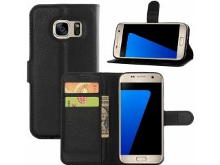 Samsung Galaxy S7 Ledertasche Portemonnaie Karten Etui Hülle schwarz