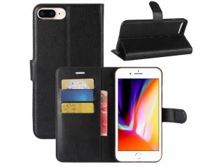 iPhone 7 Plus Ledertasche Portemonnaie Etui Schutzhülle - Schwarz